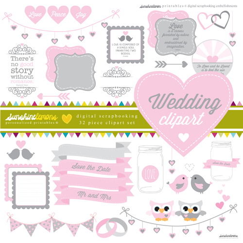 Wedding scrapbooking digital clip art