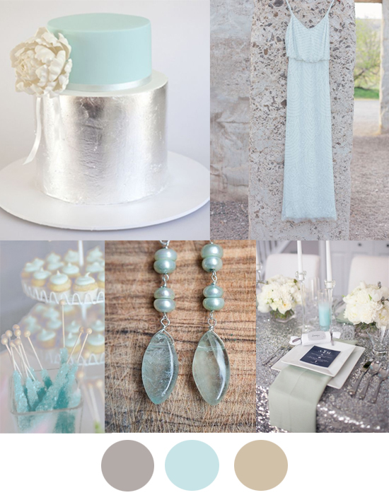 Silver, mint and taupe wedding colour inspiration