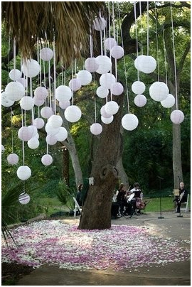 Budget Wedding Decor Hanging Balloons